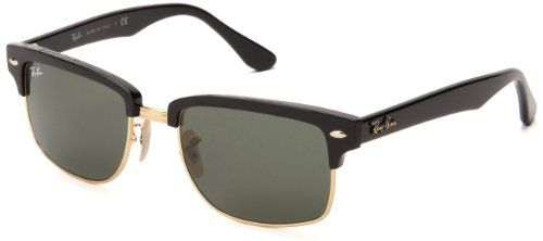 Ray-Ban CLUBMASTER SQUERE - BLACK/ARISTA Frame CRYSTAL GREEN Lenses 52mm Non-Polarized * Click image to review more details.