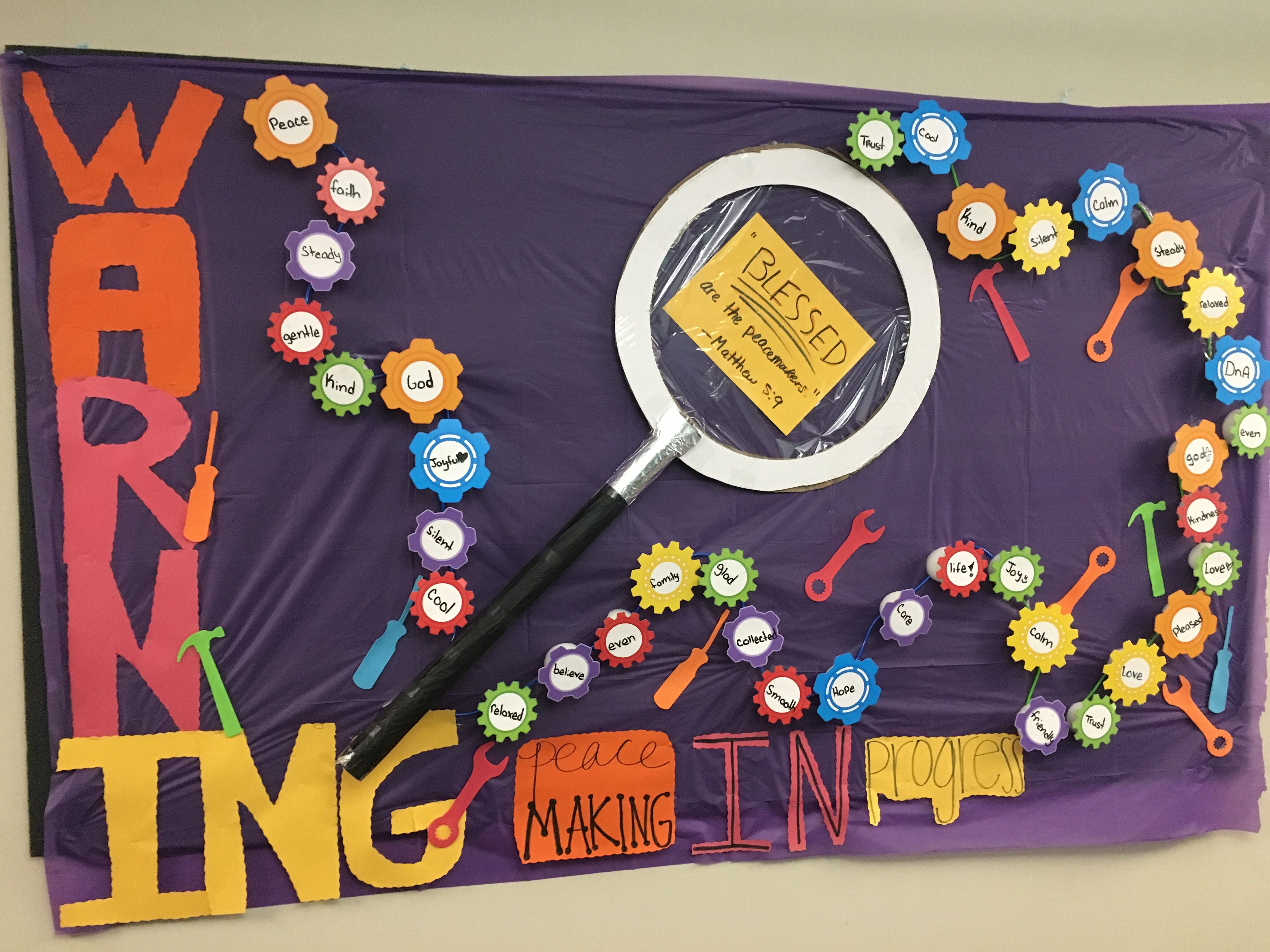 Peace Lab Vbs Bulletin Board Designed By Youth Gears And Tools