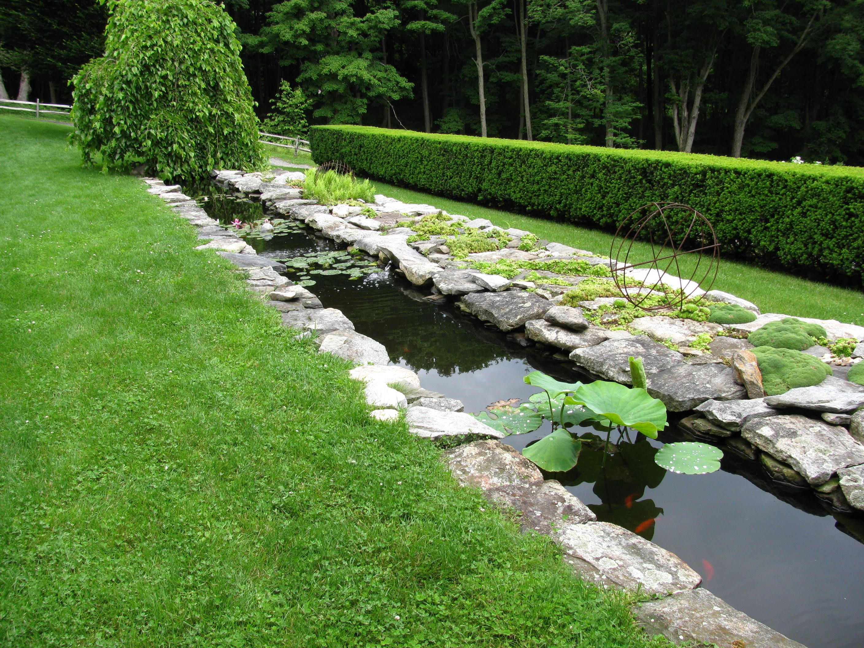 Linear Water Feature Flanked By Steppable Plantings