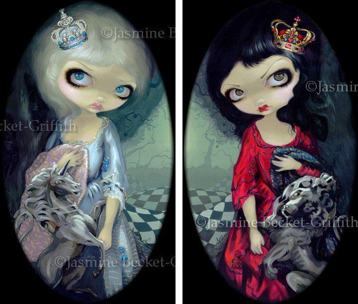 Jasmine Becket-Griffith SIGNED goddess Flora and Fauna set of 2 BIG art prints