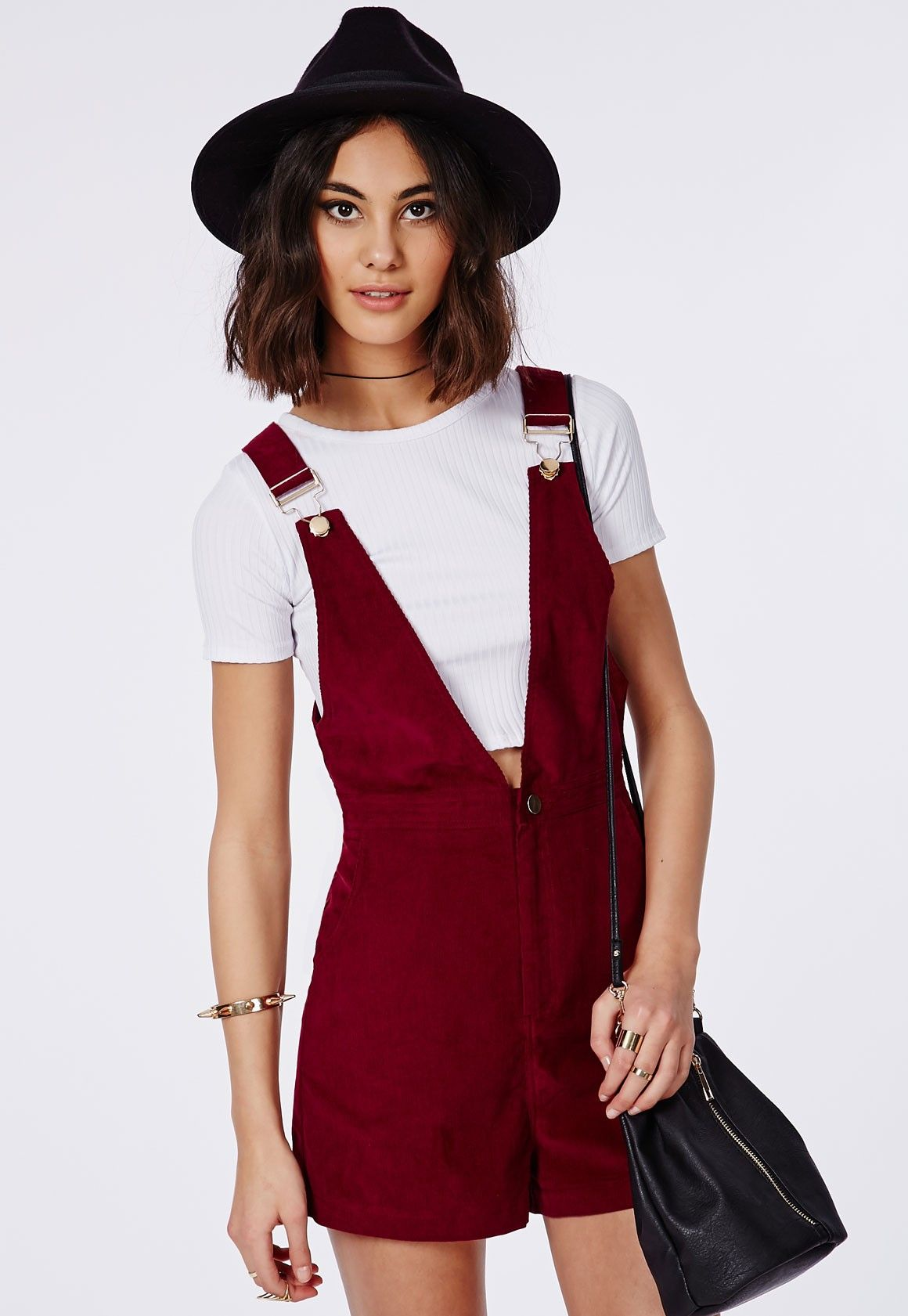 d7755ddd529 Corduroy Dungaree Playsuit Burgundy - Playsuits - Missguided ...
