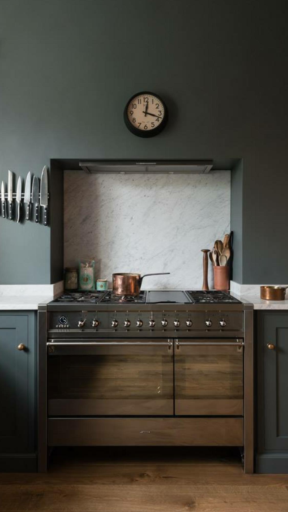 Recessed Stove Looks Like Wood Cabinet In This Modern Dark Sage Kitchen With White Countertops Devol Kitchens Kitchen Interior Kitchen Design