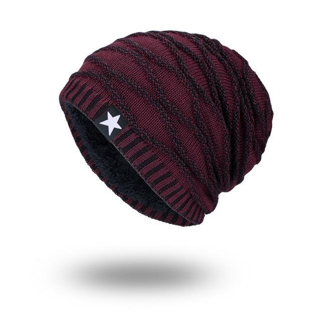 d86c436166a Joymay 2017 Brand New Winter Autumn Beanies Hat Unisex Warm Soft Skull Knitting  Cap Hats Star Caps For Men Women WM067