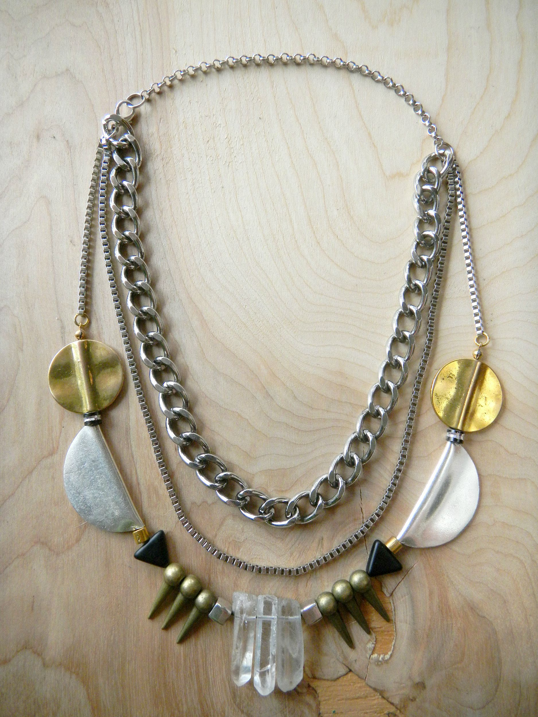 Party rocked rocker metal statement party necklace from