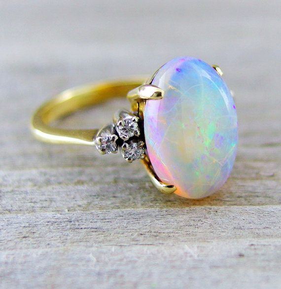 Vintage 3 12 Carat Opal and Diamond Engagement Anniversary Ring 14kt Yellow G