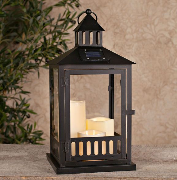 solar powered black lantern with 3 outdoor candles 16 inch tall at rh pinterest com