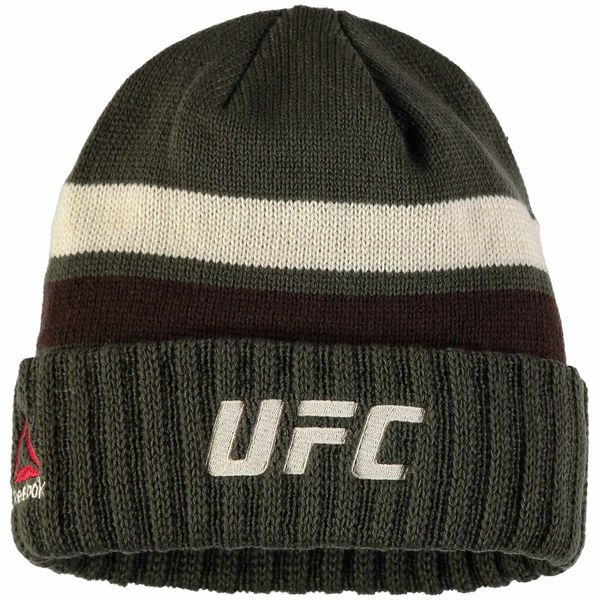 7bc310c23 UFC Reebok Logo Cuffed Knit Hat - Olive - $21.99   Beanies   Knitted ...