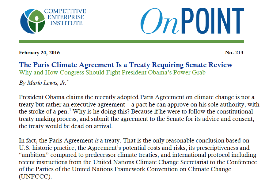 The Paris Climate Agreement Is A Treaty Requiring Senate Review New