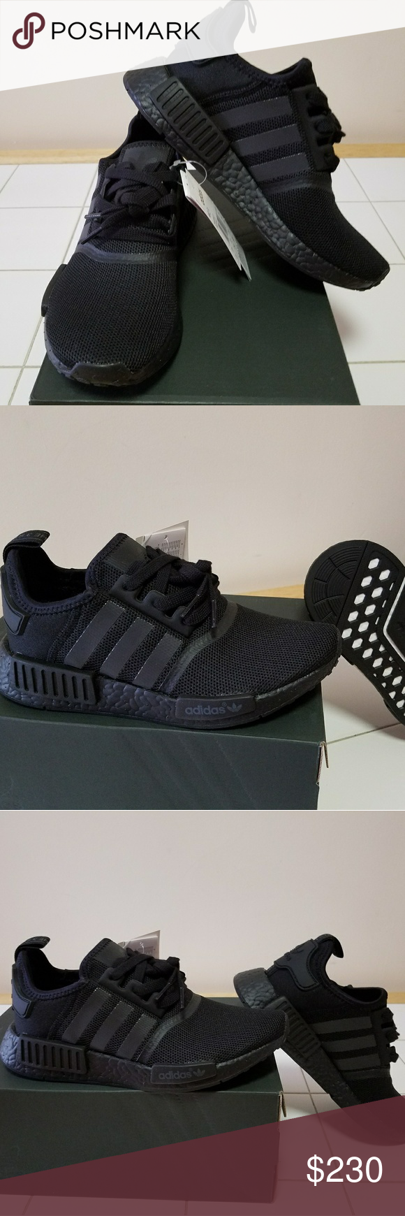 21b3374377b56 Adidas NMD R1 TRIPLE BLACK Popular NMD primeknit with reflective 3 stripe  brand and ultra boost technology Adidas Shoes Athletic Shoes