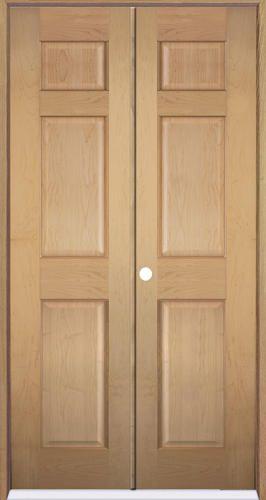 mastercraft 36 x 80 maple 6 panel prehung interior double door