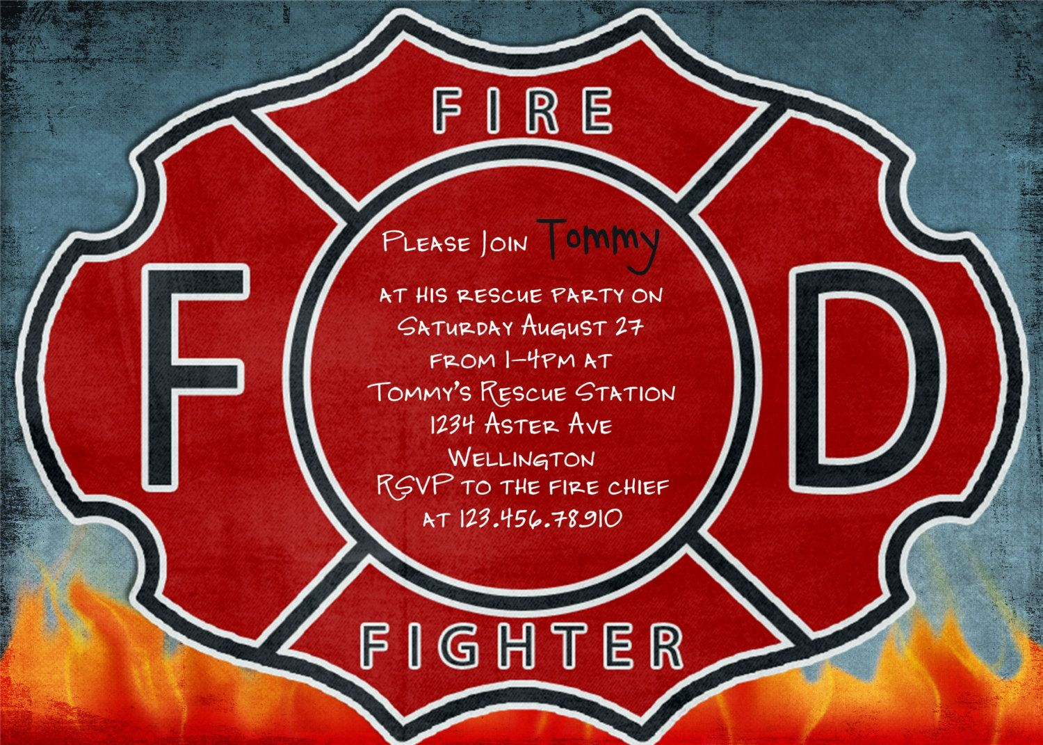 Firefighter Birthday Invitation Fireman Custom You Print – Firefighter Party Invitations