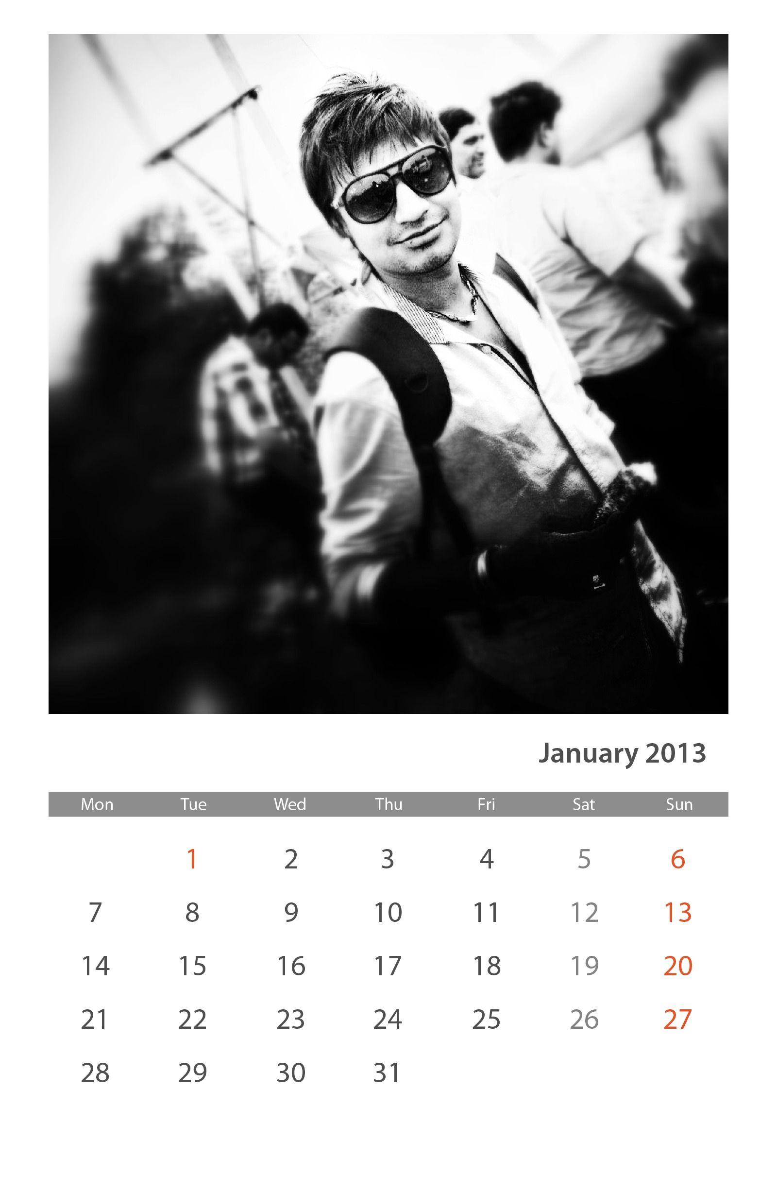 Jan. 2013 Calender By- Apurv Lodha