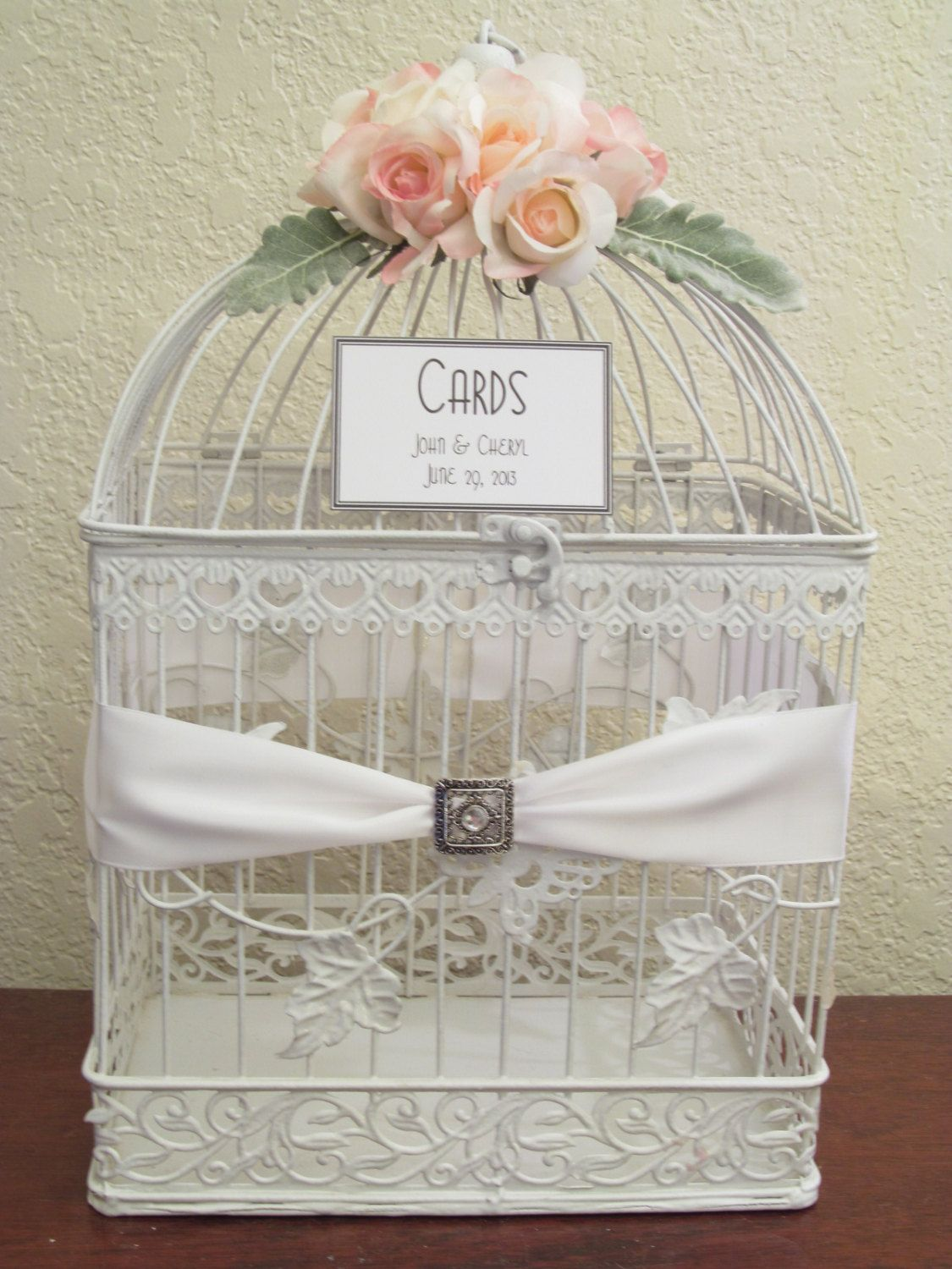 Wedding Card Box / Rhinestone Brooch / White / Bird Cage Card Holder ...