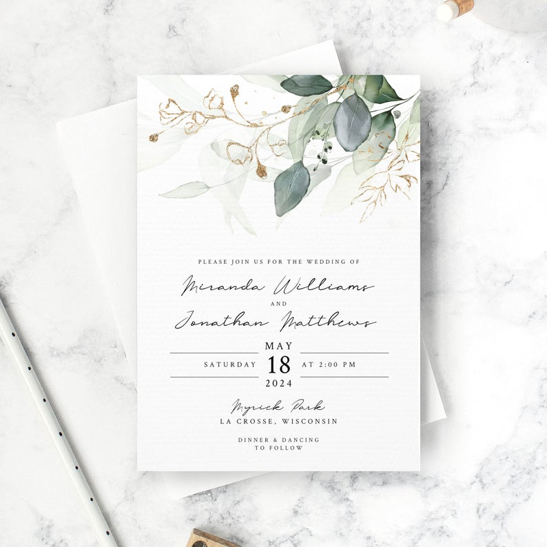 Eucalyptus Wedding Invitation Set Template Invitation Only Gold Watercolor Greenery Design 001 Di 2020 Pernikahan Kartu Dan Undangan