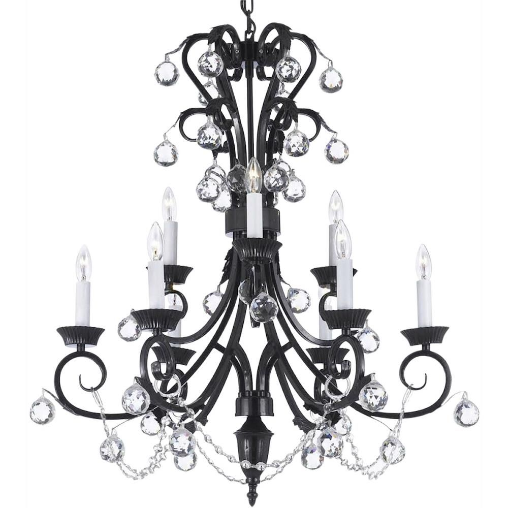 Harrison Lane Versailles 9 Light Black Candle Style Chandelier With 40 Mm Crystal Balls T22 1321 The Home Depot Candle Style Chandelier Wrought Iron Chandeliers Crystal Chandelier Lighting