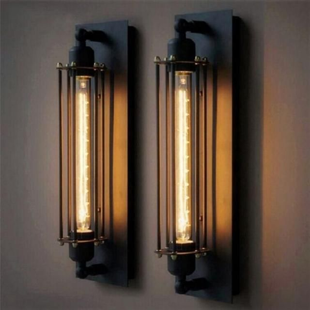 T30 Industrial Rustic Long Black Wall Sconce Plate Lamp Retro