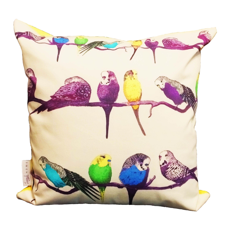 Happy budgiesu my latest budgie cushion design with a colourful