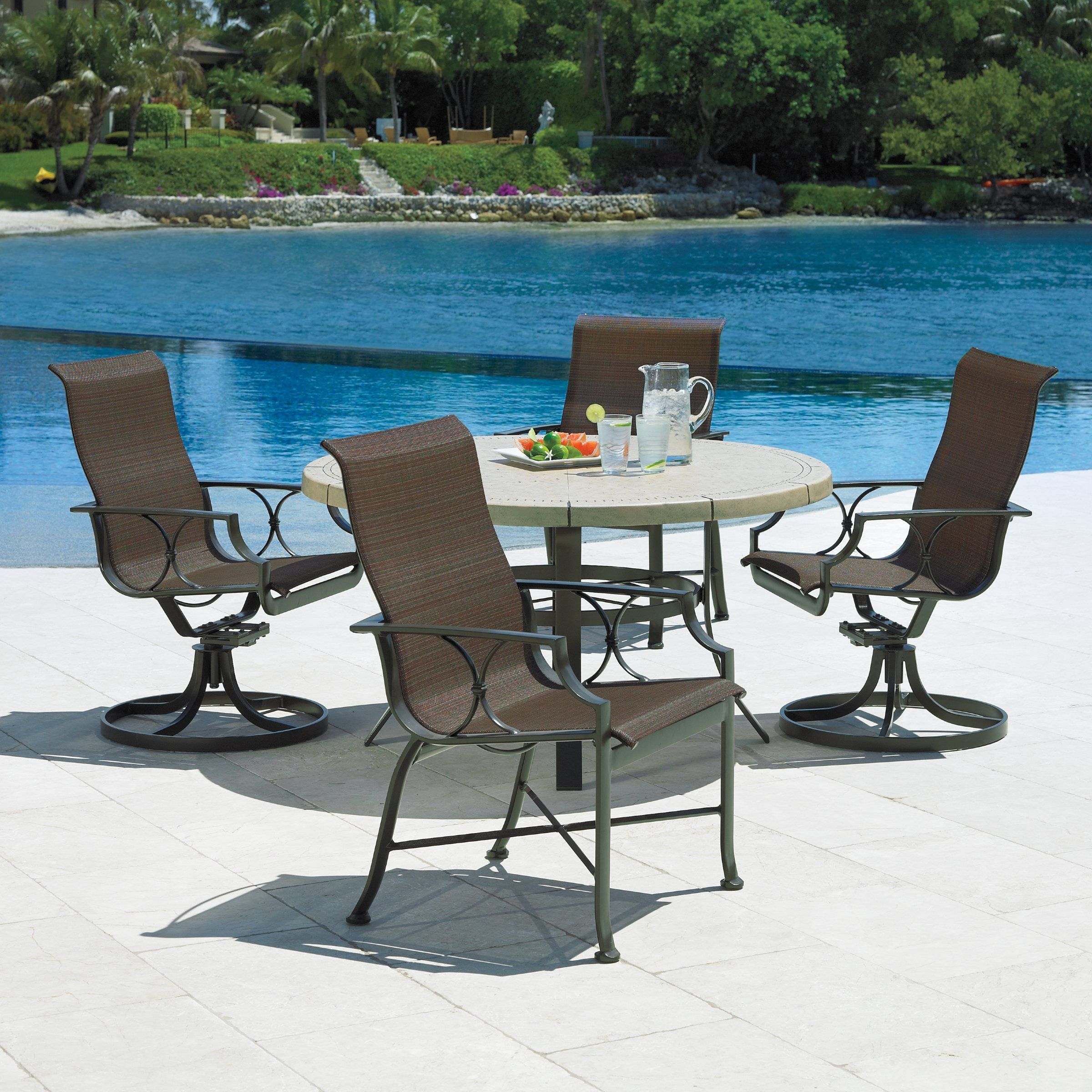 Winston Exeter Sling Collection Round Patio Dining Set From Hayneedle Deck Furniture