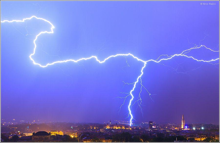 Lightning Over Zagreb Croatia Zagreb Zagreb Croatia Croatia