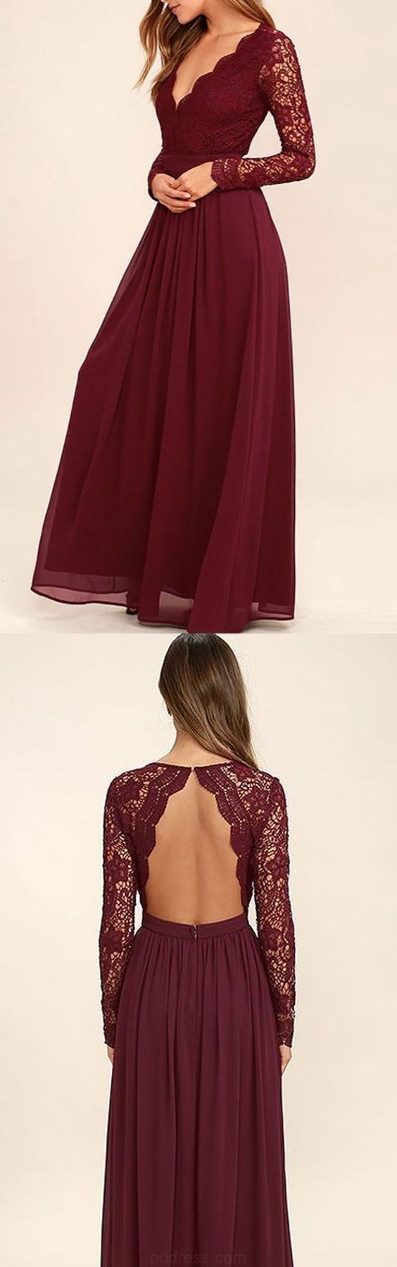Fetching prom dresses vneck long sleevs dark burgundy lace chiffon
