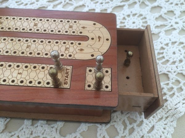 New! Cribbage 2 Track in Solid Sheesham