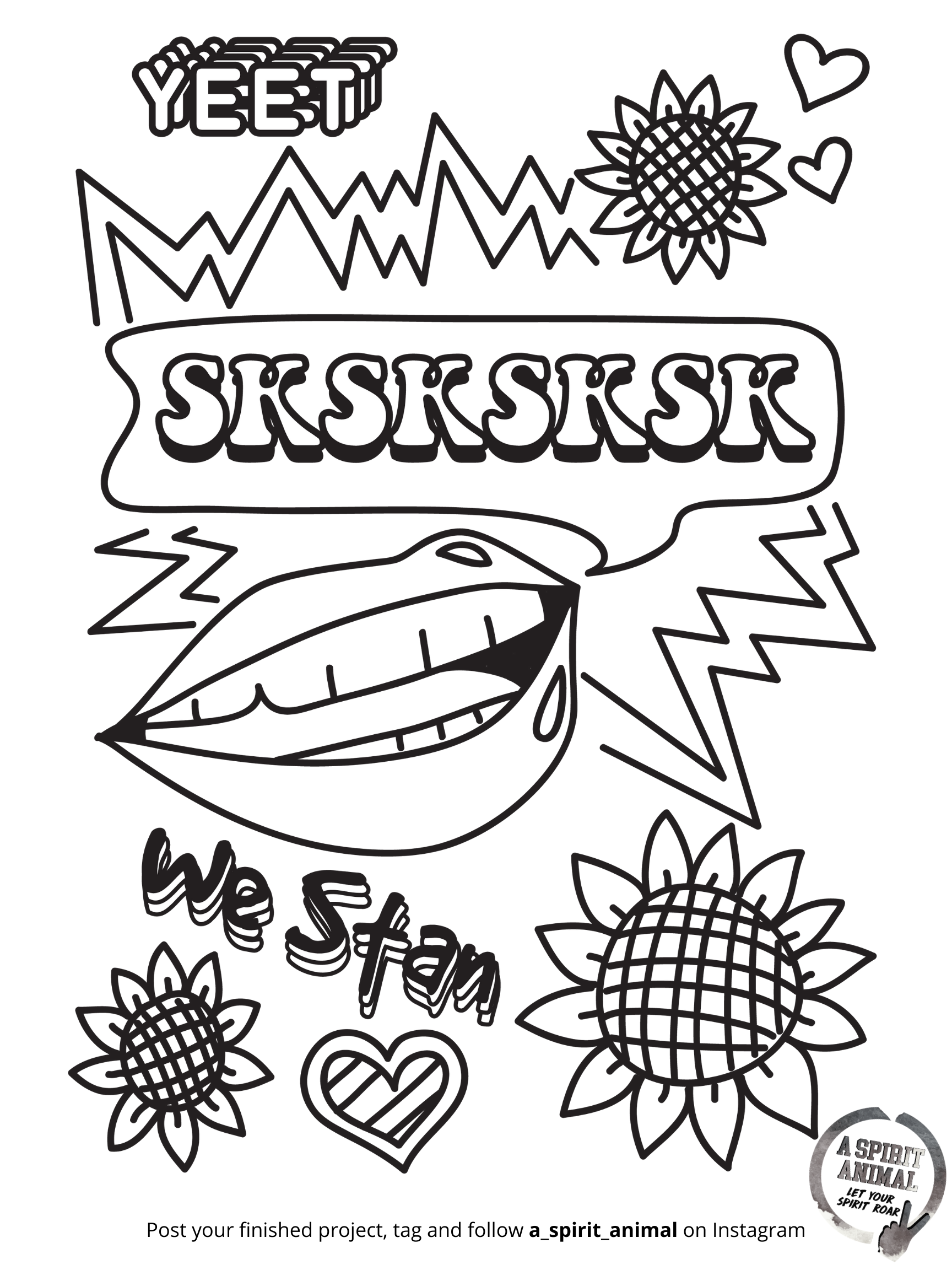 Sksksksk Lips Yeet Vsco Girl A Spirit Animal Free Holiday Activity Coloring Pages Coloring Pages Coloring Pages For Girls Cute Coloring Pages