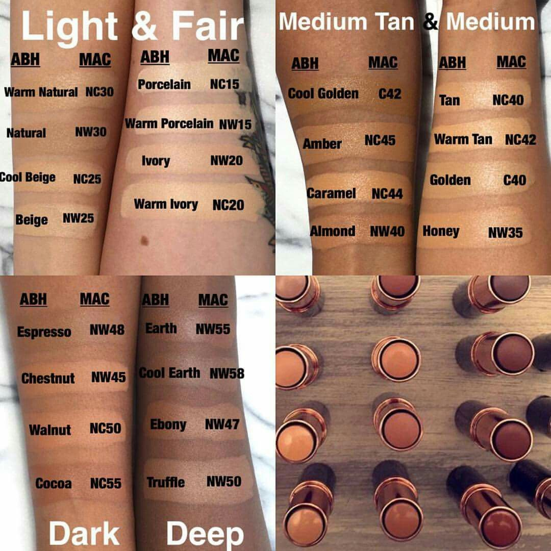 Comparison of ABH and MAC colours Mac makeup foundation