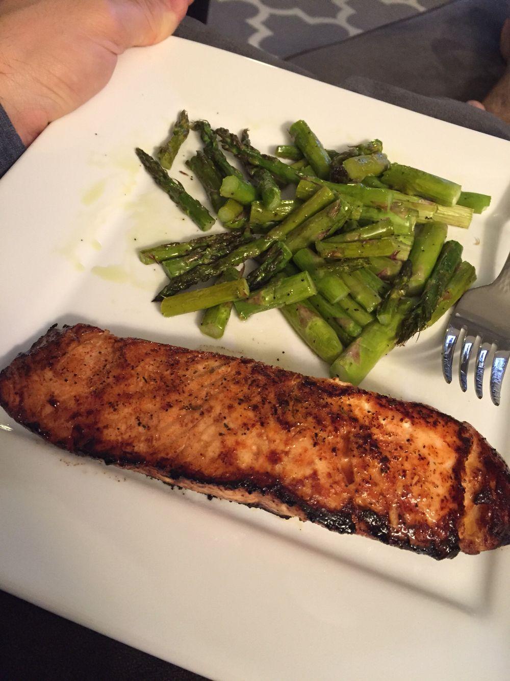 // salmon + asparagus