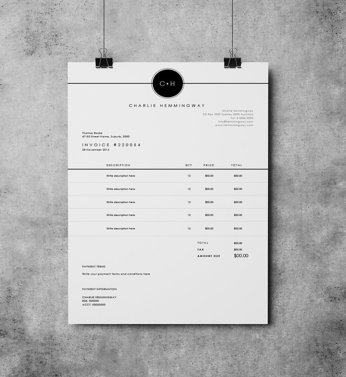 Invoice Template Invoice Design Receipt MS Word Invoice - Word document invoice template online clothing stores