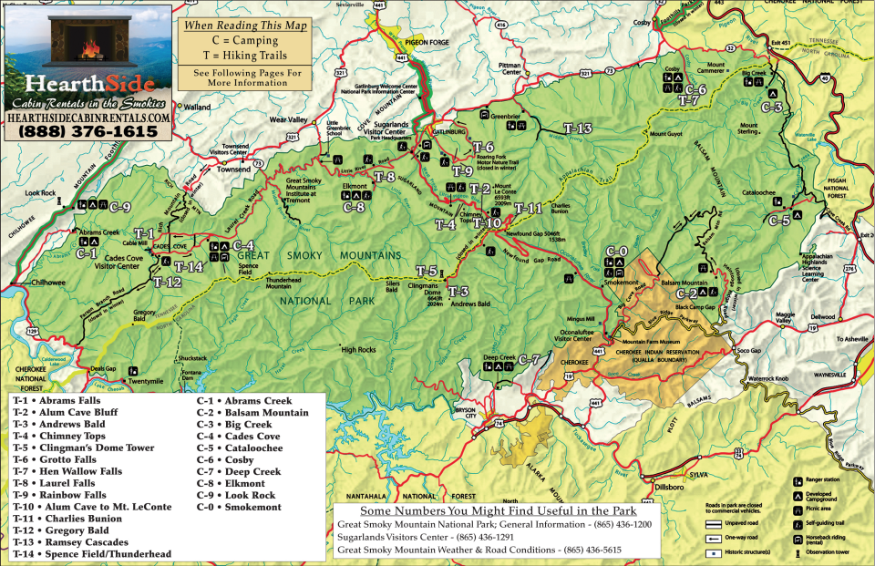 Smoky Mountain Trail Map | CADES COVE AND SMOKY MOUNTAINS ...