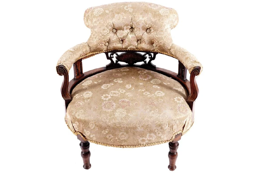 Edwardian period rosewood and marquetry tub armchair #edwardianperiod