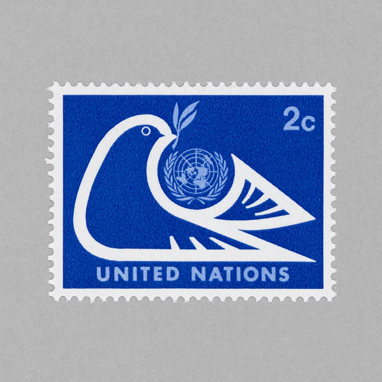 Dove and U.N. Emblem. United Nations (NY), 1974. Design: N. Gur #mnh #mintneverhinged #mnh_un #postagestamps
