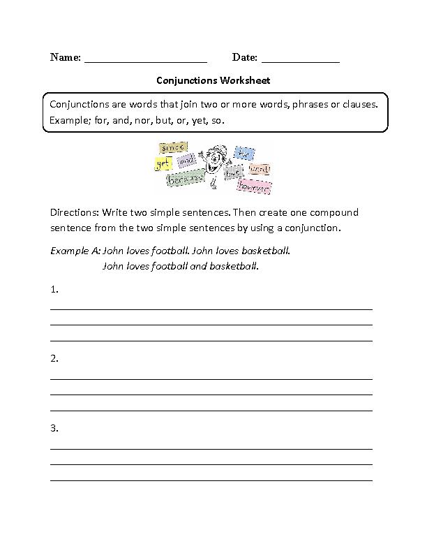 conjunctions worksheets for grade 2 pdf
