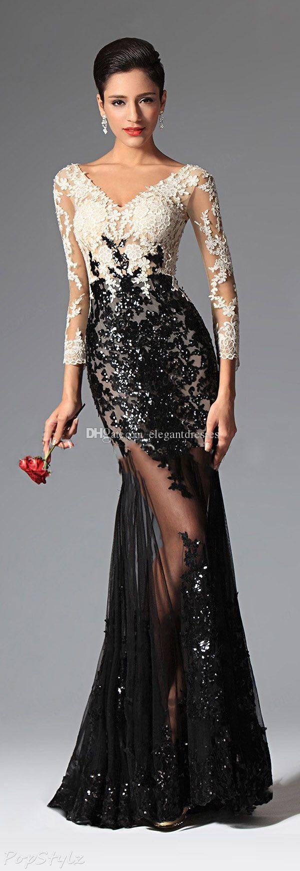 Custom made lace sequined evening dresses vneck sheer long