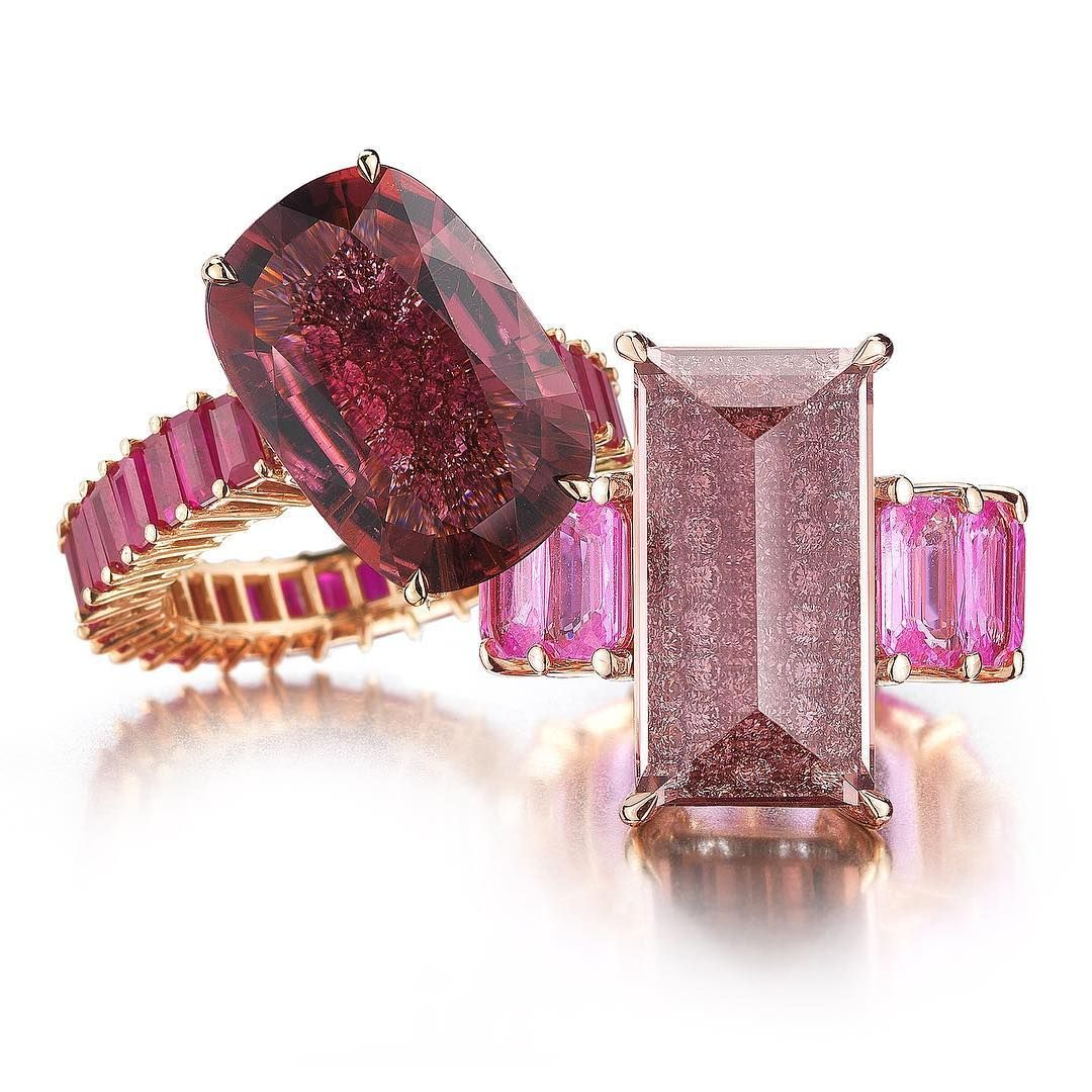 free band gemstone check ring twin bands and sapphire rose set gold side with cut pin diamonds