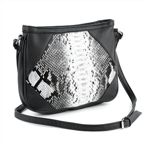 Small Snakeskin Shoulder Bag Black & White
