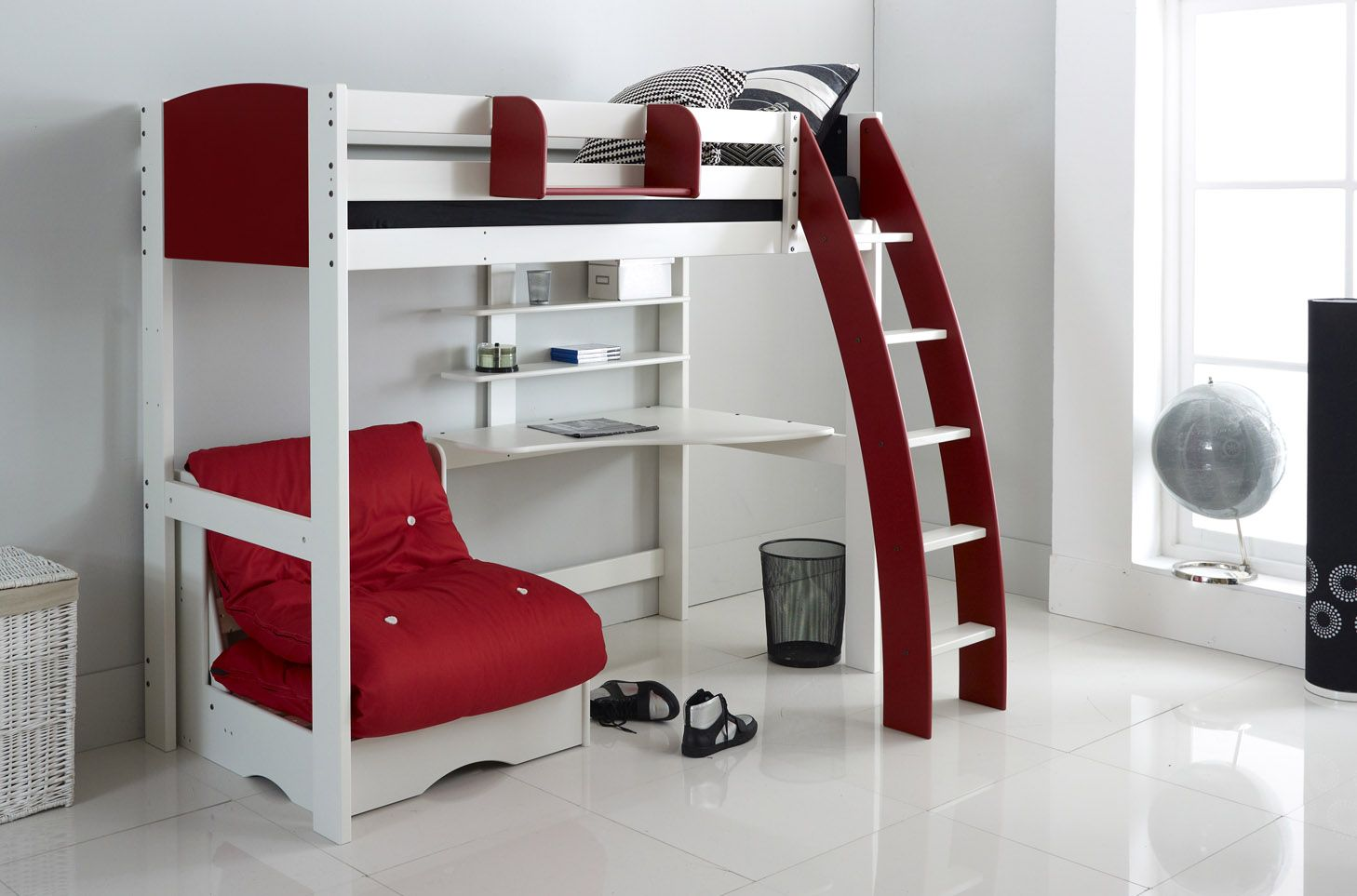 An Alternative To The Scallywag Modular Range This High Sleeper Bed Comes Complete With Integral Desk Shelves And A Free Standing Chair Futon