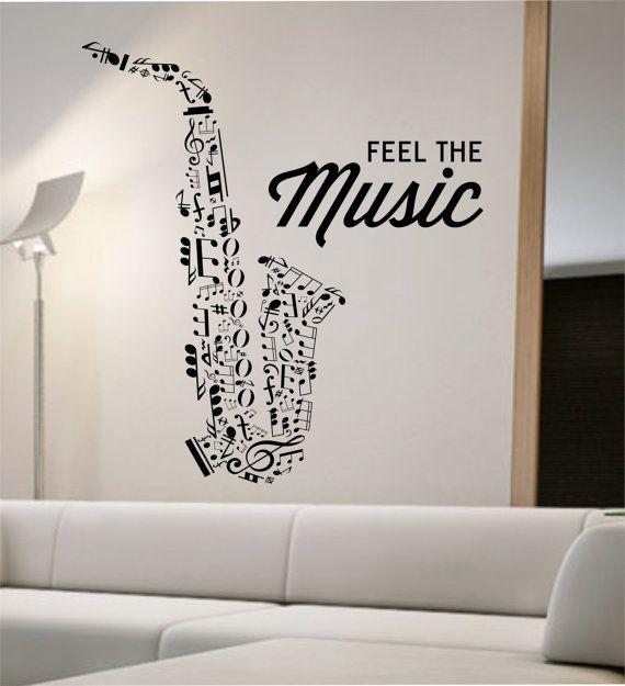 Saxophone Wall Decal Vinyl Sticker Art Decor Bedroom Design Mural ...