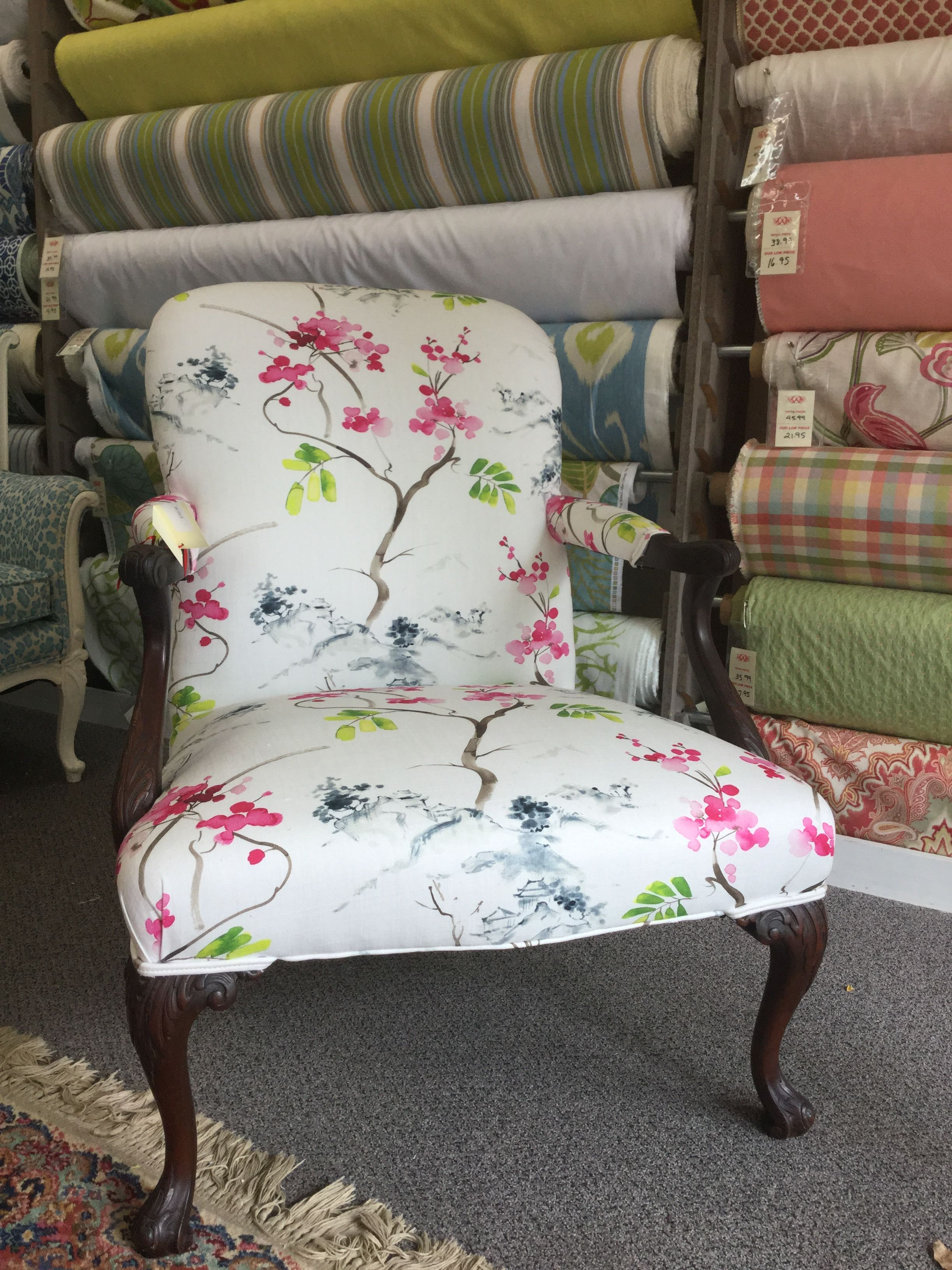 This is a chair after new upholstery fabric akita blossom