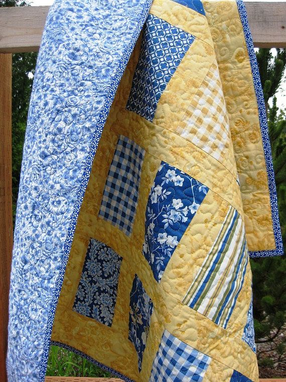 Yellow And Blue Quilt I Don T Normally Care For Yellow But These Colors Are So Pretty And Restful Together This Quilt Quilts Yellow Quilts Handmade Quilts