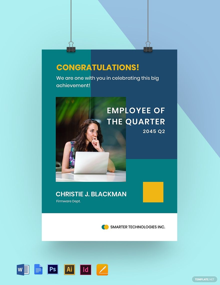 Best Employee Of The Quarter Poster Template Word Doc Psd Indesign Apple Mac Pages Google Docs Illustrator Poster Template Good Employee Poster Template Design