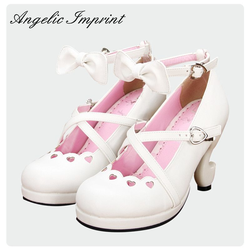 78064ddb6844 Japanese Sweet Lolita Criss Cross Straps Fantasy High Heels PU Leather Pumps  Ankle Strap Bow White