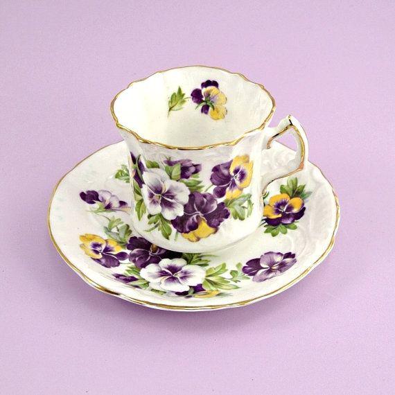 Vintage 1920s Hammersley Pansies Bone China Tea Cup and Saucer $25