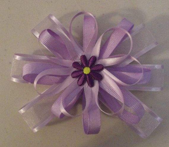 Hair Bow Purple topped with a flower by Deannaroserichardson, $1.75