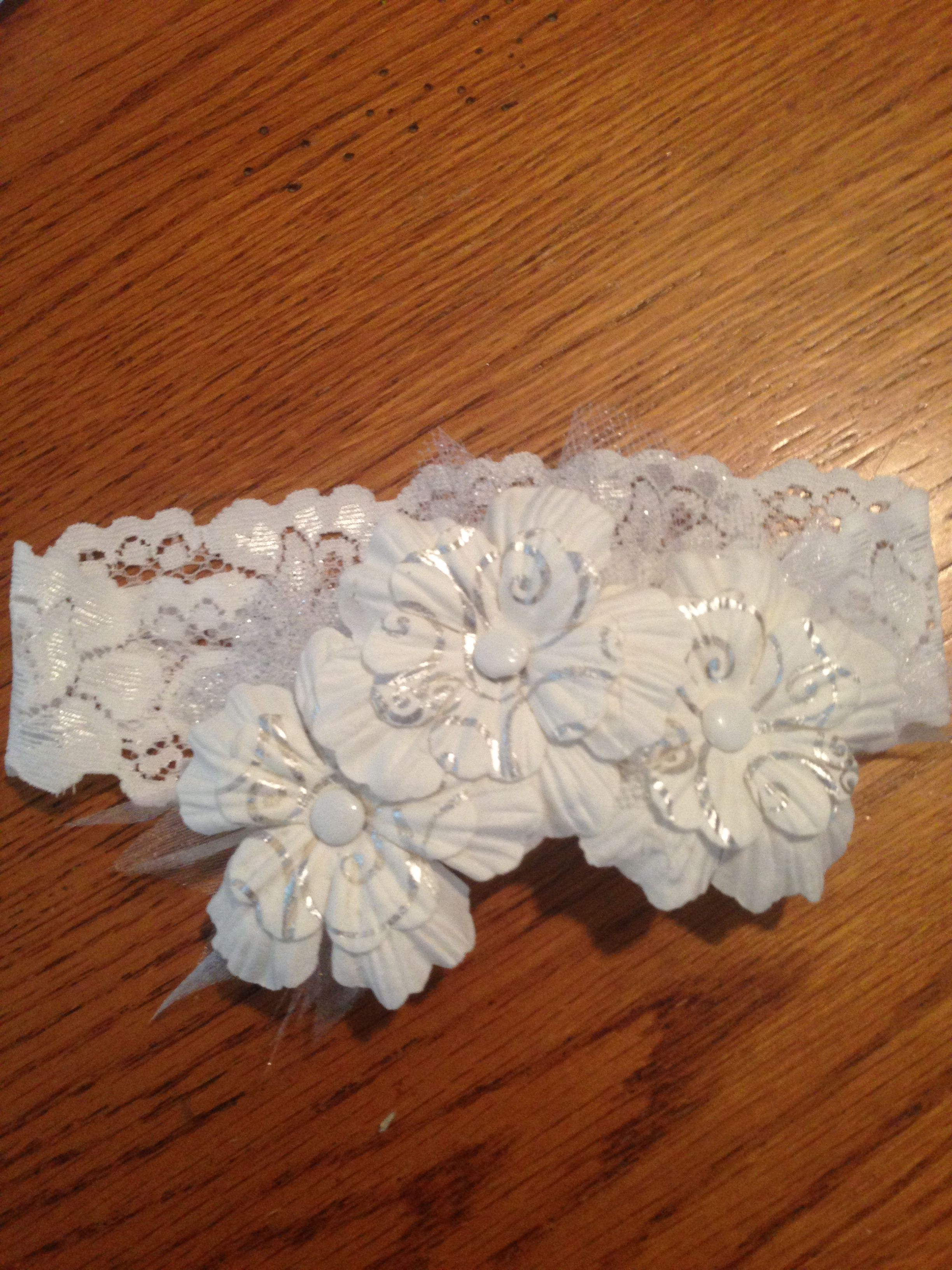 White and Silver Crown baby headband
