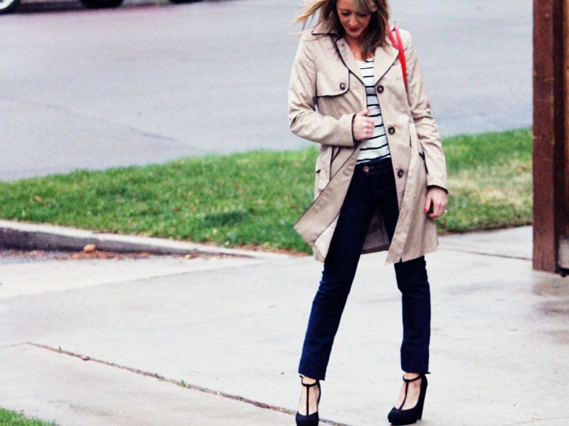 Love the stripe shirt with the trench!