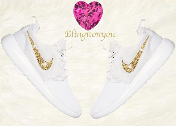 Bling Nike Women's Roshe Two White Shoes Blinged out with