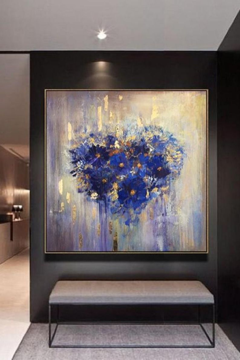 Abstract Heart Flower Painting Romantic Wall Art Large Etsy