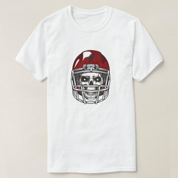 Scary Skull with Red Football Helmet T-Shirt #halloween #holiday - halloween t shirt ideas
