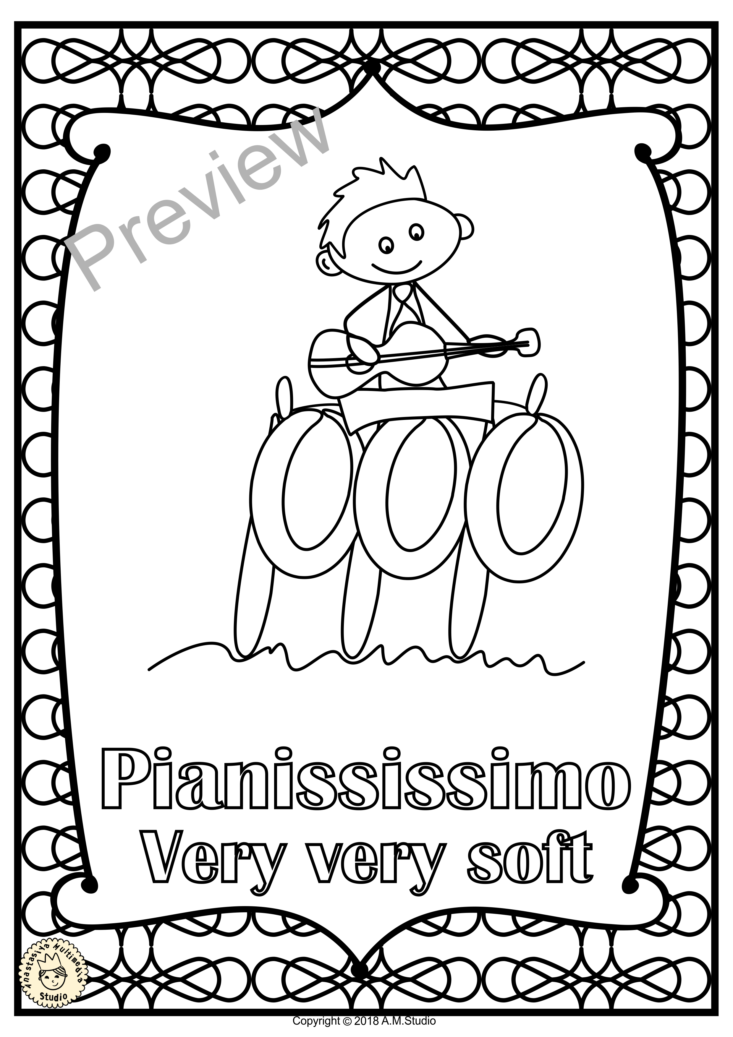 Music Dynamics Posters For Coloring Set 1 Music Class Decor